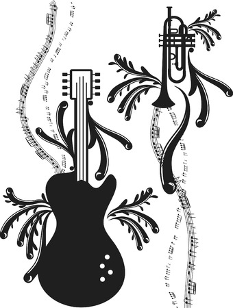 logo music: Fun musical expressive electric guitar and Trumpet, no gradients.