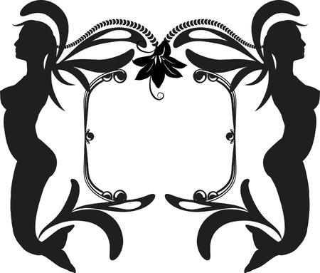 人魚のレトロ様式化された図 写真素材 - 3357326
