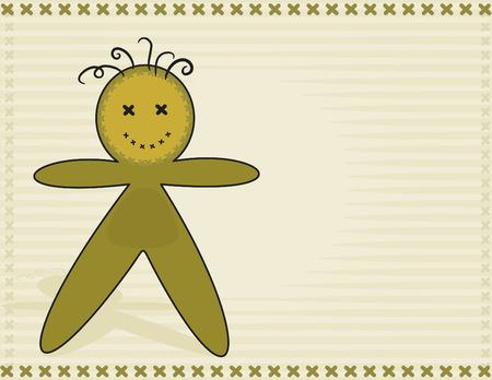 Happy cartoon voodoo doll. No Gradients. Stock Vector - 3360419