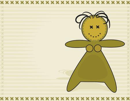 Happy cartoon voodoo doll. No Gradients.