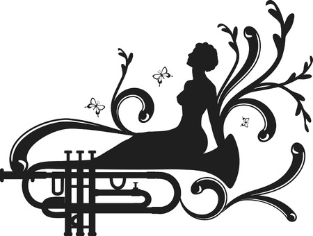 logo music: Retro styled trumpet with expressive strokes and musical muse. One color.