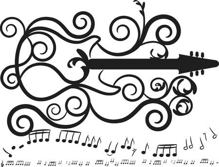 kifejező: Retro styled guitar with expressive strokes. One color. Illusztráció