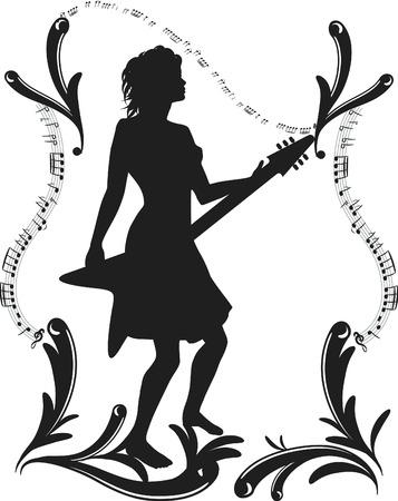 표현 프레임, 하나의 색상으로 그녀의 일렉트릭 기타를 흔들어하는 여자. 일러스트