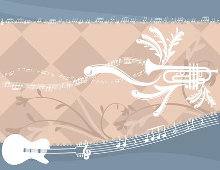 재미 뮤지컬 표현 일렉트릭 기타와 트럼펫, 아니 그라디언트.