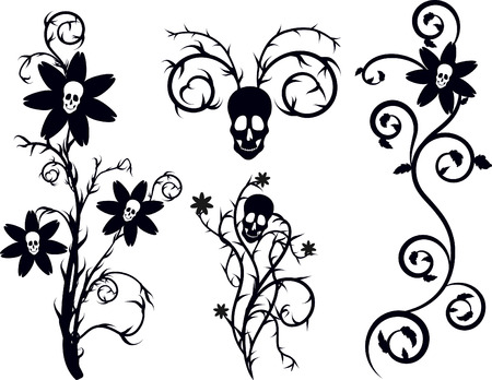 underworld: Death flowers with natural grunge elements. One color.