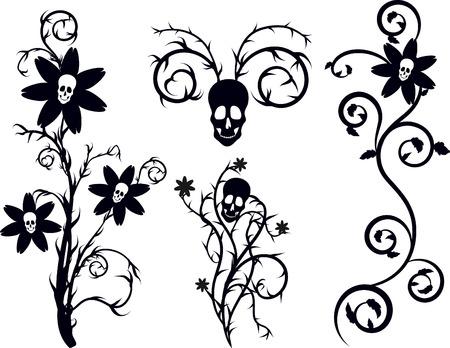 mortalidad: Muerte flores con elementos naturales grunge. Un color.  Vectores