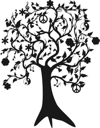Tree of life growing  and peace, One color. Vector