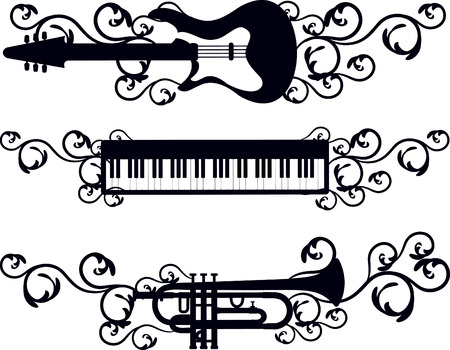 Grunge electronic musical explosion with keyboard, trumpet and electric guitar, no gradients. Illustration