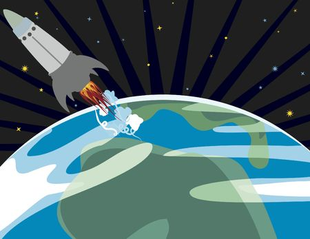 cartoon drawing of a spaceship lifting off from the earth no