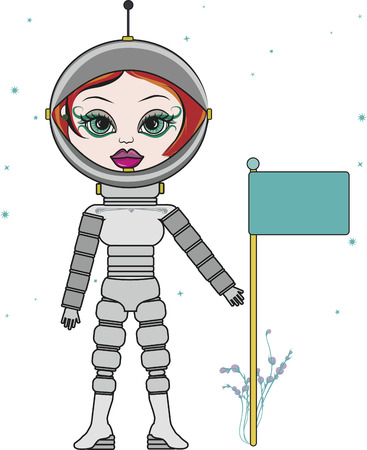 Cartoon drawing of a woman astronaut. Illustration
