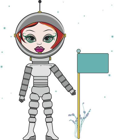 Cartoon tekening van een vrouw astronaut.