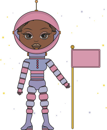 expanding: Cartoon drawing of a woman astronaut. Illustration