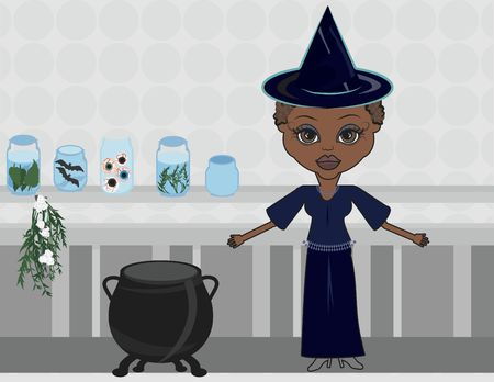 symbolic woman: Fun character illustration of a witch with Halloween background.