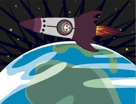 Cartoon drawing of a spaceship with a woman astronaut lifting off from the Earth. No Gradients