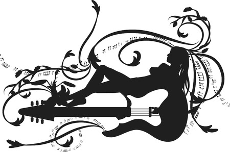 Muse of music expressive electric guitar with reclining woman. One color
