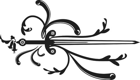 representational: One color illustration of a sword design element.