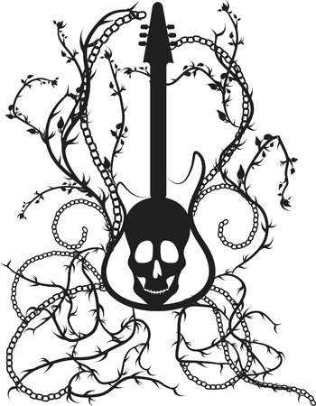 mortality: Electric guitar with a skeleton and chains growing with wild energy. One color