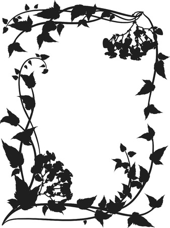 perennial: Frame of bleeding hearts and leafs, one color. Illustration