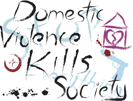 violencia familiar: La violencia dom�stica mata a las sociedades, ilustraci�n infantil conceptual.