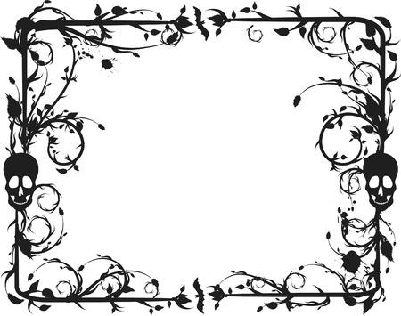 mortalidad: Esqueleto marco grunge con elementos naturales. Un color.