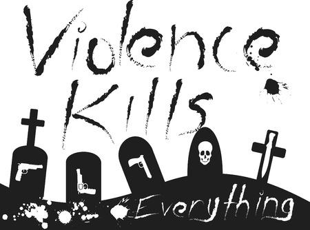 Violence Kills conceptual illustration full of sorrow and desperation.