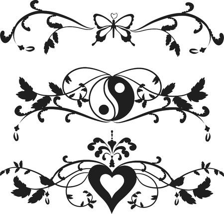 Grenzen met hart en bladeren, een kleur. Stock Illustratie