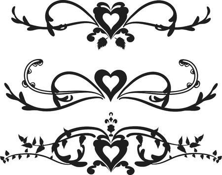 レトロ: 心と葉は、1 つの色と枠線。  イラスト・ベクター素材