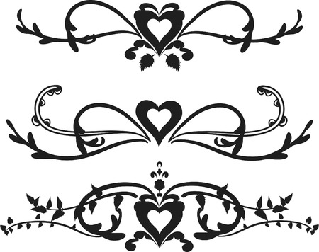 retro: Borders with hearts and leaves, one color.