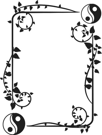 symbols: Yin and Yang symbols in a fun organic frame.  One color.