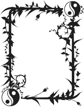 Yin and Yang symbols in a fun organic frame.  One color. Vector