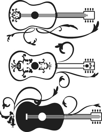 Retro styled acoustic guitars with expressive strokes. One color. Illustration