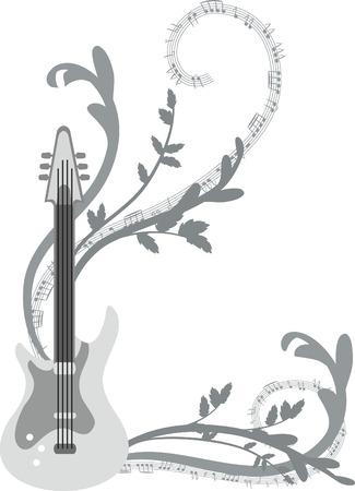 전기 기타, 아니 그라디언트 재미 뮤지컬 배경.