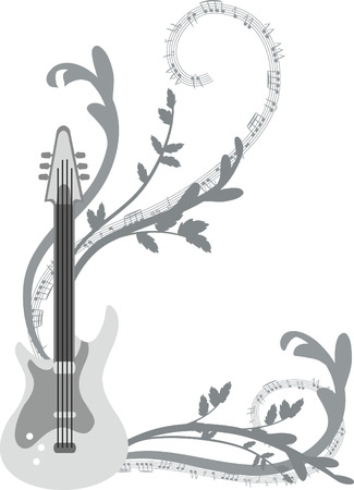 logo music: Fun musical background with electric guitar, no gradients.