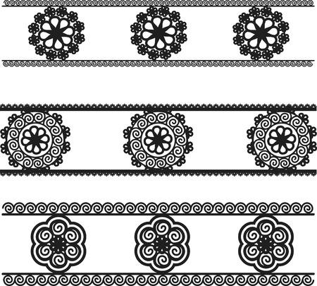 Lace border trim elements, one color. Иллюстрация
