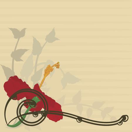手描きのハイビスカスの花。グラデーション