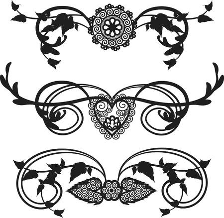 Lace garden border trim elements, one color. Illustration