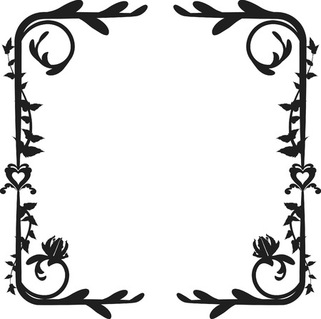 Expressive lily garden frame. One color.