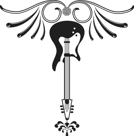 logo: Retro styled guitar with wings. One color. Illustration