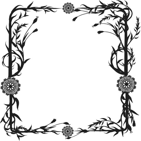 perennial: Expressive garden frame. One color. Illustration
