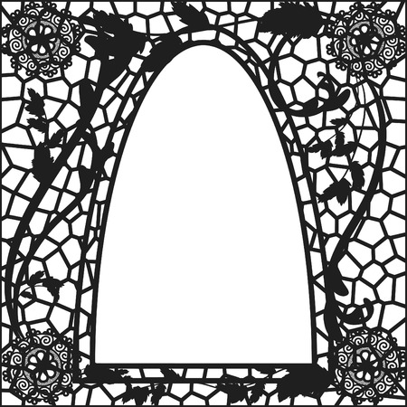 vetrate artistiche: Stile retr� vetrate illustrazione.