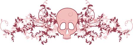 mortality: Skeleton border with natural grunge elements.