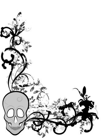 Skeleton Grenze mit natürlichen grunge Elemente. Standard-Bild - 4099575