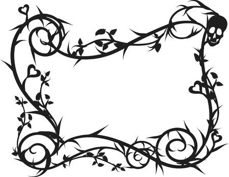 mortalidad: Esqueleto marco grunge con elementos naturales. Un color. Vectores