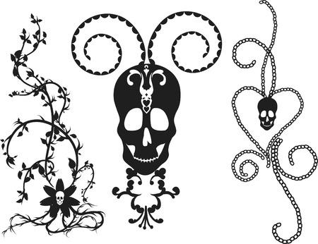 Skeleton border with natural grunge elements.