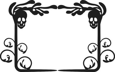 Skeleton frame with natural grunge elements. One color.