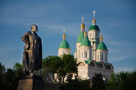 atheism: Atheist Lenin and the Church Stock Photo