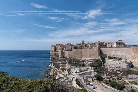 Panoramic views of Bonifacio Corsica and the sea from the mountain. Clear sunny day