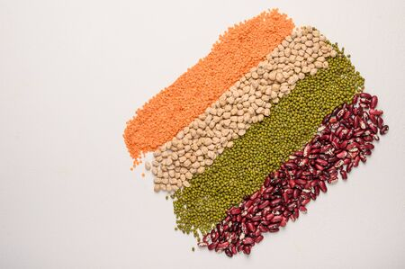 Concept of legumes chickpeas, lentils, beans, mash. Protein plant background top view 写真素材
