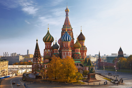 View of the Saint Basil cathedral in Moscow, Russia