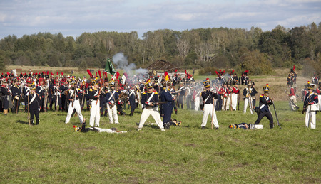 military invasion: MOSCOW REGION, RUSSIA - SEPTEMBER 01, 2012: Reenactment of the Borodino battle between Russian and French armies in 1812. The first killed in the French army at Borodino